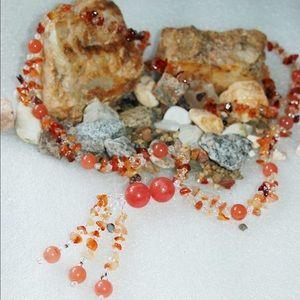 handmade & handcrafted gemstone jewelry Jewelry - Quartz Glass,Cherry Quartz,Red Carnelian Necklace