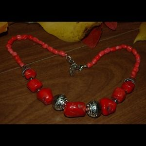 handmade & handcrafted gemstone jewelry Jewelry - Adjustable Red Sea Coral Gemstones Necklace