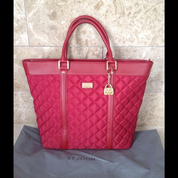 St. John Handbags - 🎉HP🎉✨St. John Red Quilted & Leather Travel Tote✨