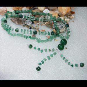 handmade & handcrafted gemstone jewelry Jewelry - Quartz Glass,Green Agate,Green Aventurine Necklace