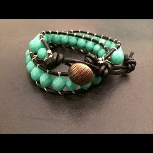Wrap bracelet with turquoise beads & black leather