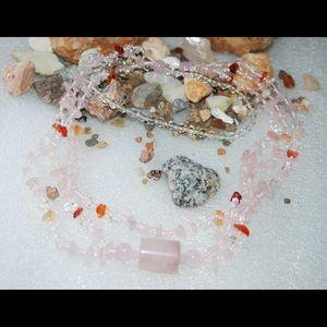 handmade & handcrafted gemstone jewelry Jewelry - Quartz Glass,Carnelian,Rose Quartz Necklace