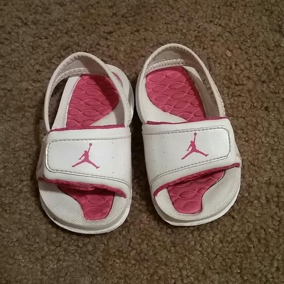 Pink And White Jordan Girls Slippers