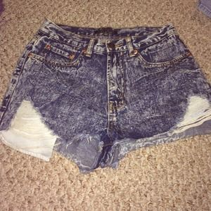 Denim - Acid high waisted shorts