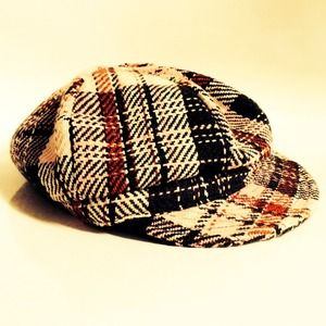 Red Beige Plaid Check Cabbie Newsboy Beret Hat
