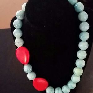 Baby blue and red statement necklace