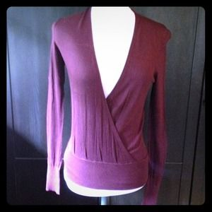 Ann Taylor Maroon wrap style sweater