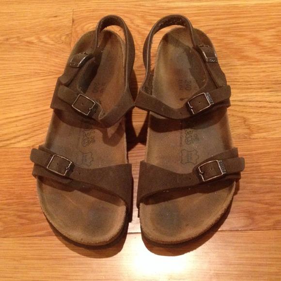 90f293eba9e Birkenstock Shoes - BIRKENSTOCK 37 BROWN SUEDE SANDALS W  HEEL STRAP