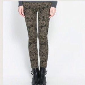 NWT Zara Skinny Jacquard Trouser Pants