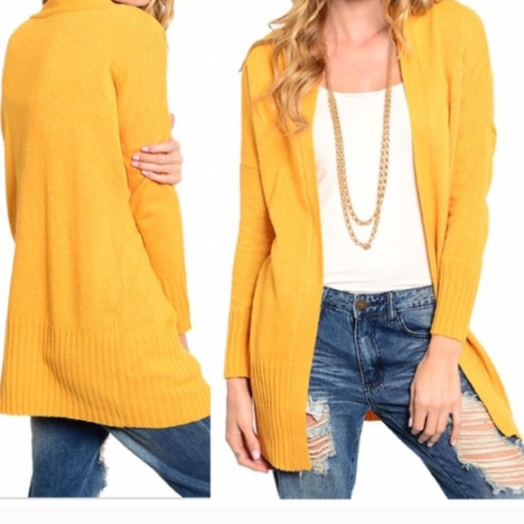 34% off Outerwear - Last one!! Mustard yellow boyfriend sweater L ...