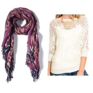 Sale! Ivory whit crochet knit sweater m