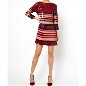 BRAND NEW - Sequined Tee Dress with Stripes