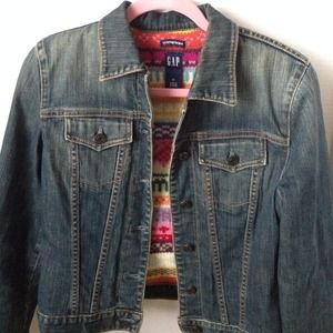 Gap Denim jacket with lambs wool lining size XS