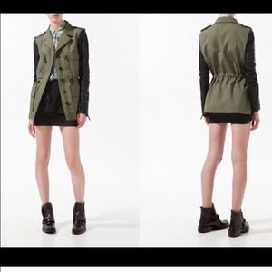 Zara military green jacket with leather sleeves