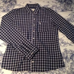 NWT Abercrombie Navy Plaid Flannel