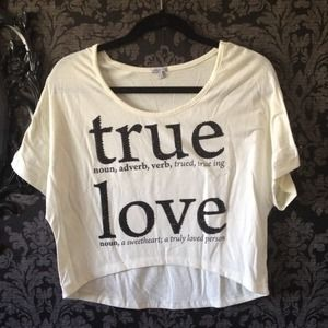 Ivory Rhinestone True Love Definition Crop Top