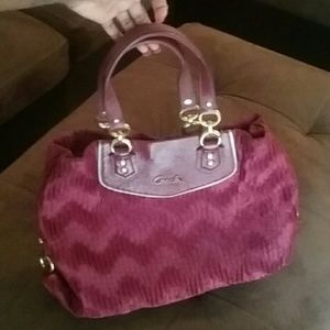 Coach Gathered Ashley Red Bourdeaux Satchel