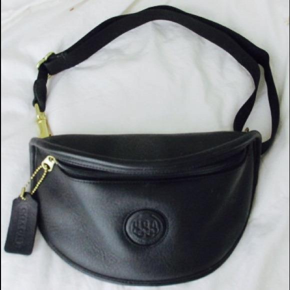 5f93148f910 Auth Coach leather fanny pack waist bag hip purse