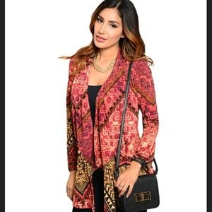 Jackets & Blazers - Rust patterned long sleeved stretch cardigan.🎉🎉