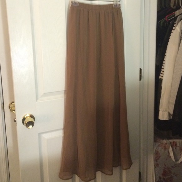 68% off Dresses & Skirts - Light brown chiffon maxi skirt from ...