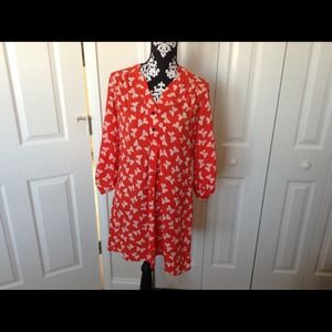 Tops - Orange and white dress-shirt with bows.