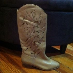 Vintage Perforated Leather Boots