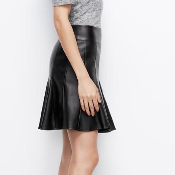 71 dresses skirts faux leather flounce
