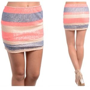 Dresses & Skirts - Glitz & Glam Sequin Mini Skirt in Coral/Blue/Pink