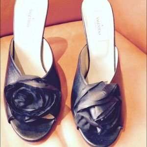 Valentino Shoes - Valentino Black Silk Petal Leather Mule Sandal 10