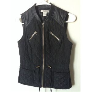Black Quilted leather trim vest size Small