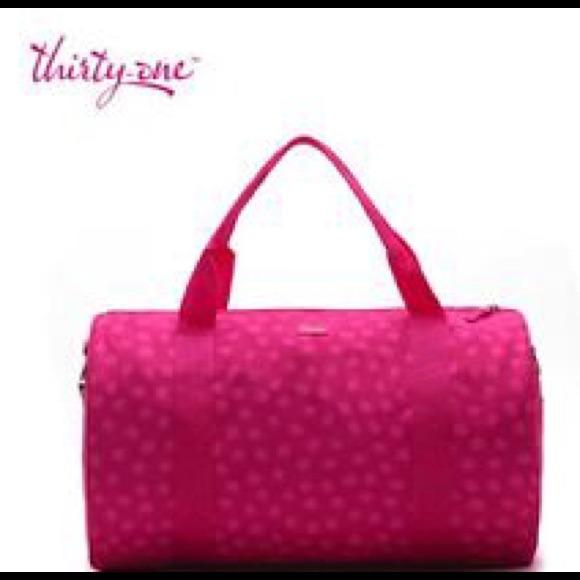 8d720af90 Thirty One Other | Pink Polka Dot Duffle Gym Bag | Poshmark