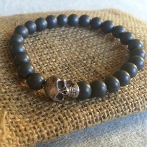 King Baby Studio Jewelry - Unisex stretch bead bracelet SS skull