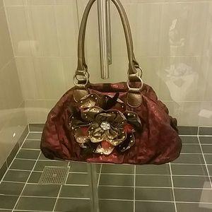 Handbags - Beautiful Shiny Deep Red & Gold Flower Bling Purse