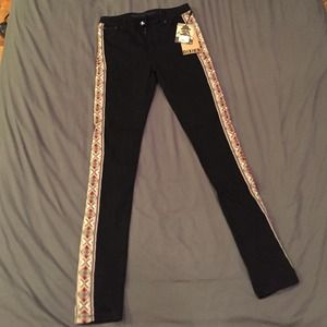 black jeans with embroidered sides size 27