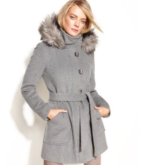 eb62a5213bc Calvin Klein Turn-Key Hooded Faux-Fur-Trim Coat