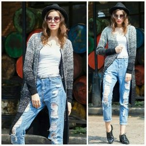 Sweaters - Long Knitted Ombre Cardigan