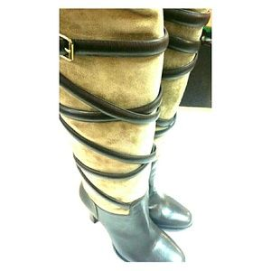Boots - SOLD  8.5 knee high brown boots buckles NWT $750.