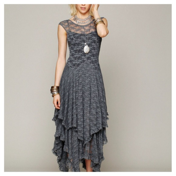NWT Gray Lace Handkerchief Maxi Dress Sheer Top M-L from Lara&-39-s ...