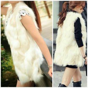 Jackets & Blazers - Posh White/Beige Long Faux Fur Vest