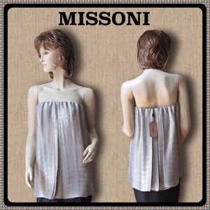 Missoni Tops - MISSONI Silver Lame' pleated strapless top 10 NWT