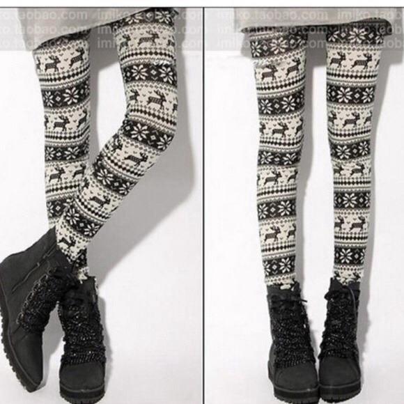 5f4765f4dbdeac Pants | Salenwt Christmas Reindeer Snowflake Leggings | Poshmark