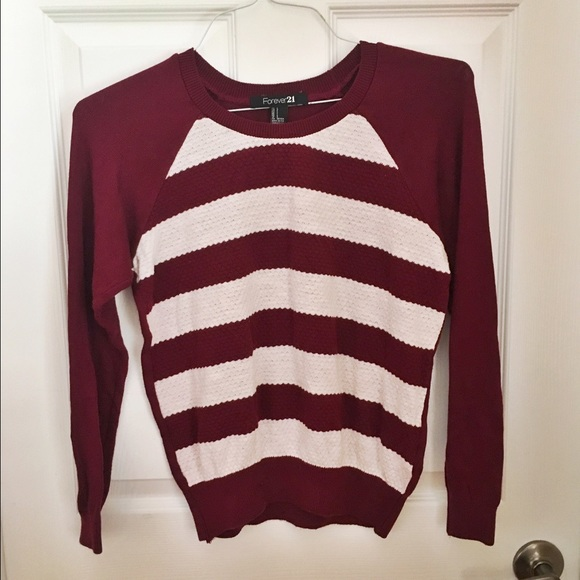 59% off Forever 21 Tops - Burgundy and White Striped Sweater from ...