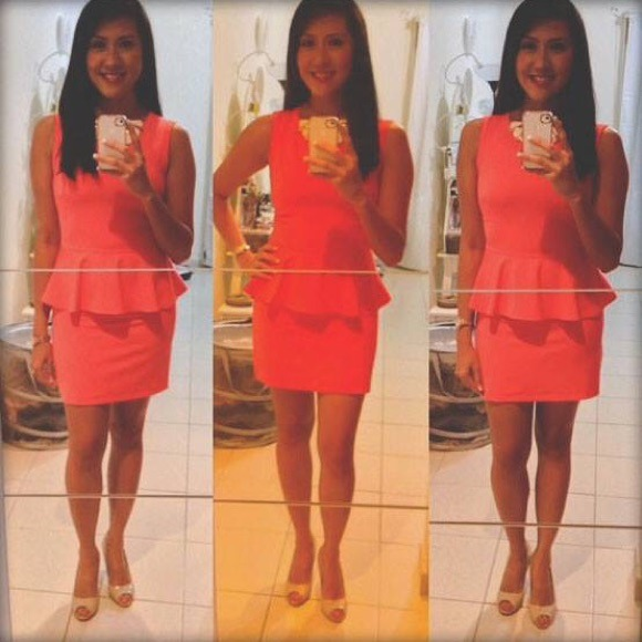 Neon Pink-orange Peplum Dress