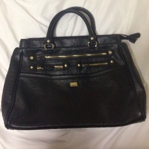 black faux leather purse