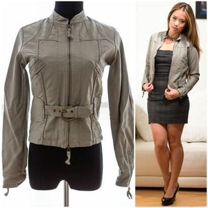 MAX STUDIO vegan (faux) leather grey moto jacket