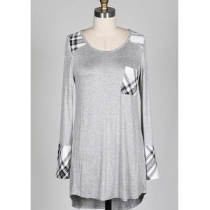 "Bare Anthology Tops - ""Patchwork Plaid"" Grey Long Sleeve Top"