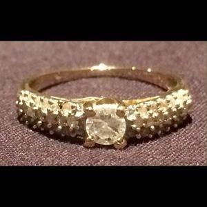 Genuine White Diamond 14K Yellow Gold Ring 💍🌺