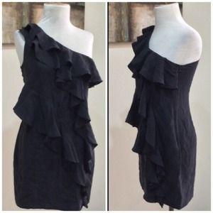 Anthro Ruffle Silk Dress in Black