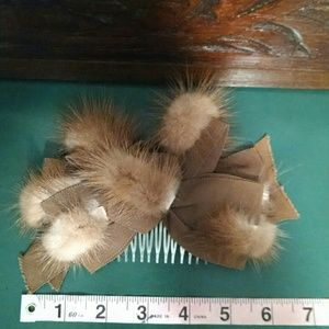 Vintage 1940's Mink & Ribbon Hair Comb