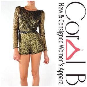 Dresses & Skirts - Gold Lace Belted Romper